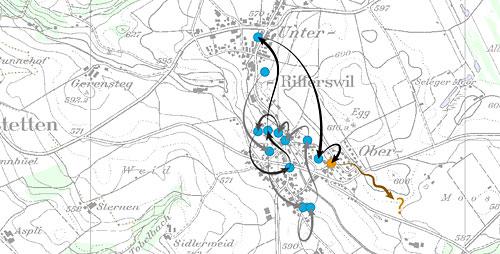 Karte der Stationen der Geschichte auf ihrer Reise durchs Dorf
